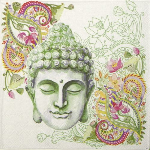 Cocktail Napkin - Buddha Head green