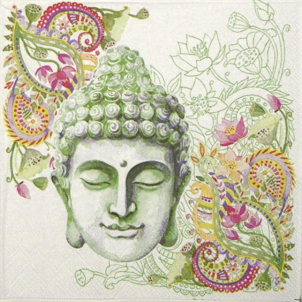 Cocktail Napkin - Buddha Head green