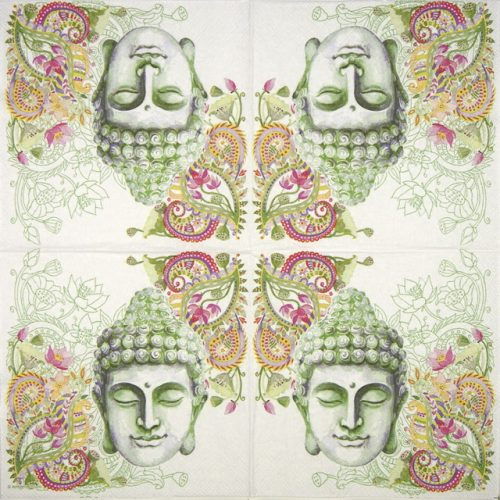 Cocktail Napkins (20) - Buddha Head green