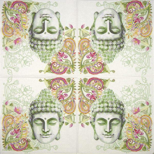 Cocktail Napkins (20) - Buddha Head green