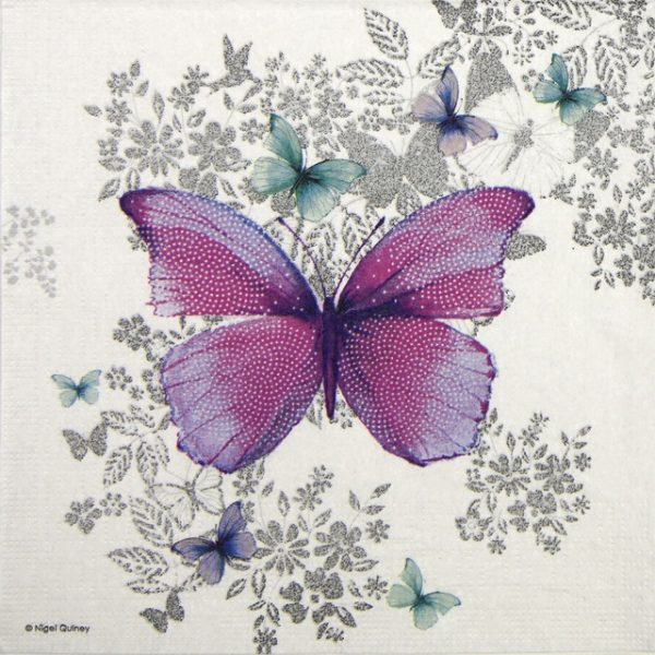 Lunch Napkins (20) - Nigel Quiney: Butterfly Pattern
