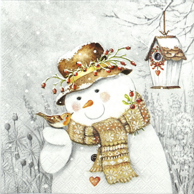 Cocktail Napkins (20) - Snowman Holding Robin