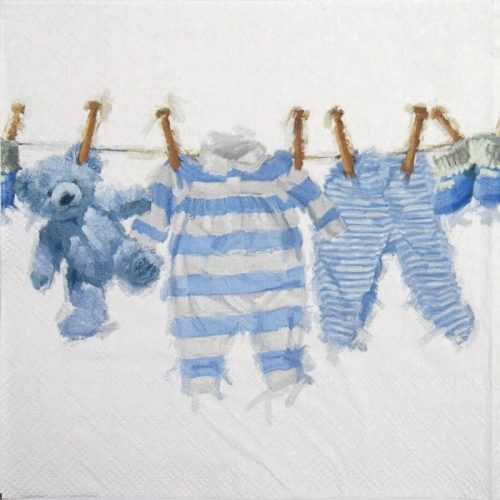 Cocktail Napkin - Baby Boy Clothes Blue