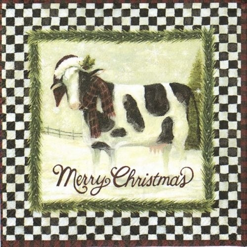Cocktail Napkin - Merry Christmas Cow