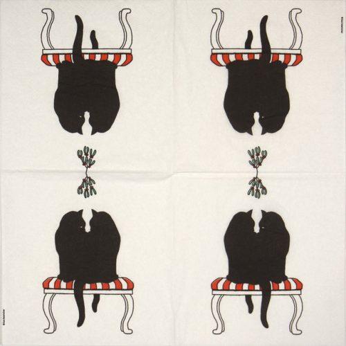 Cocktail Napkin - Black cat mistletoe