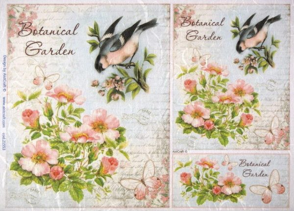 Rice Paper for Decoupage Scrapbook Craft Sheet Botanical Garden