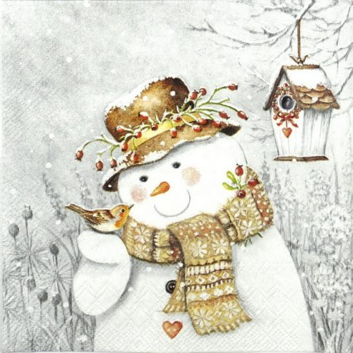 Lunch Napkins (20) - Snowman Holding Robin