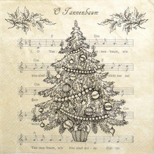 Paper Napkin - O Christmas Tree Black