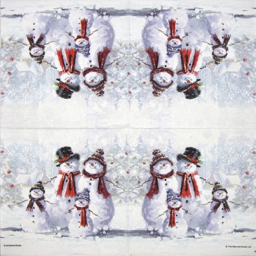 Cocktail Napkins (20) - Snowman with Hat