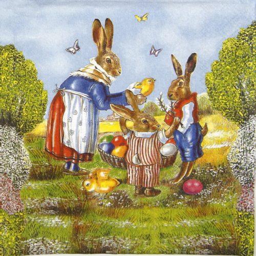 Paper Napkin - Family Hare