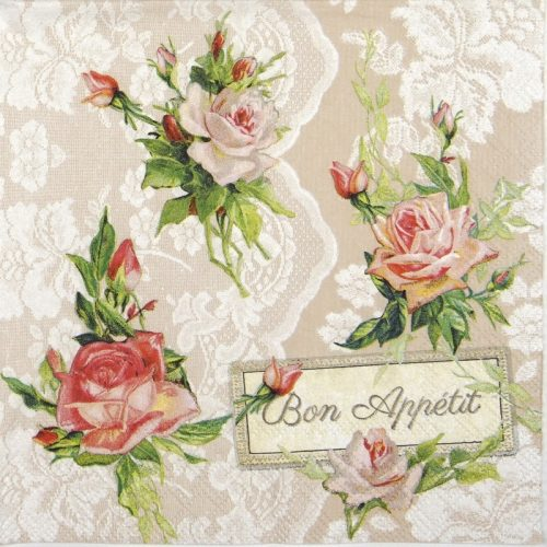 Lunch Napkins (20) - Roses on lace