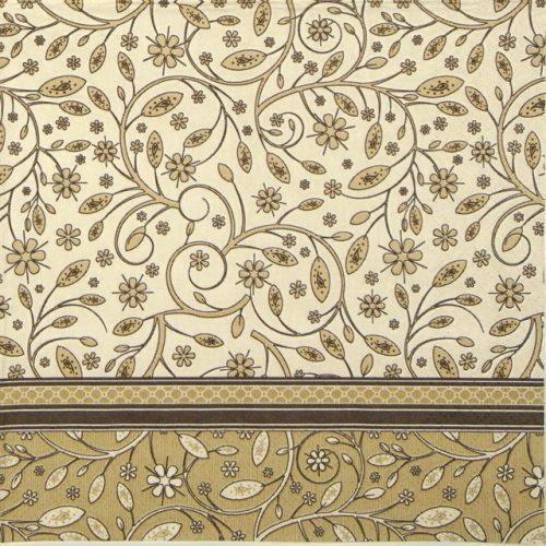 Paper Napkin - Floral Pattern Beige