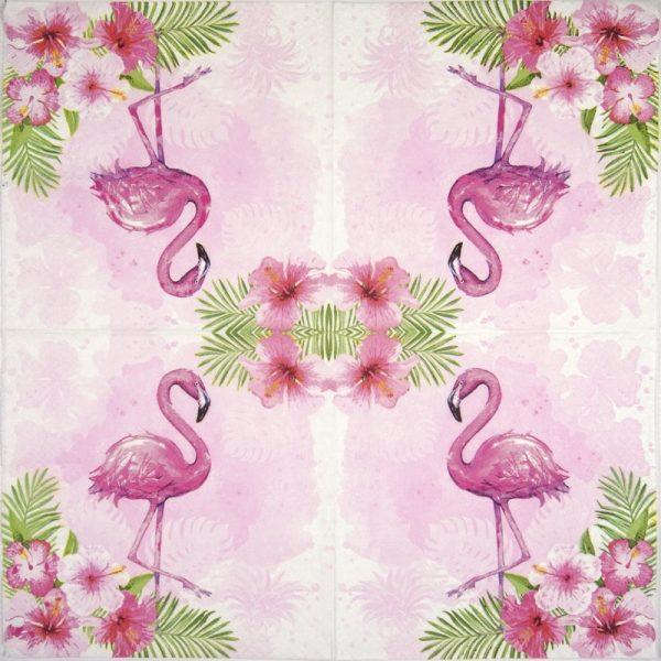 Lunch Napkins (20) - Watercolour Flamingo
