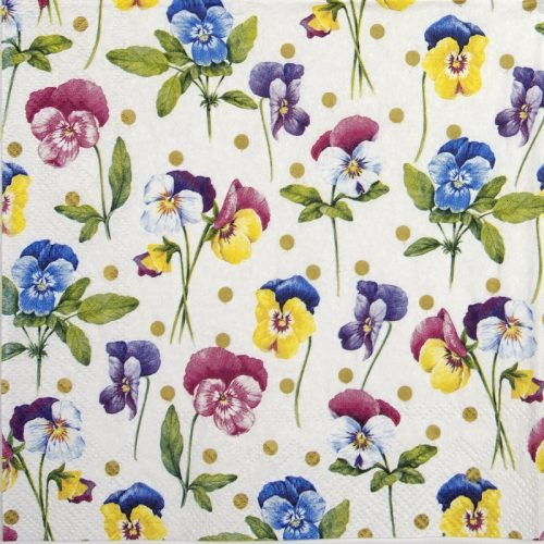 Paper Napkin - Purple pansy gold