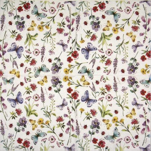 Paper Napkin - Summer Flowers white