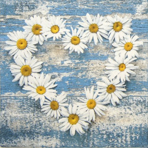 Paper Napkin - Daisy Heart on Old