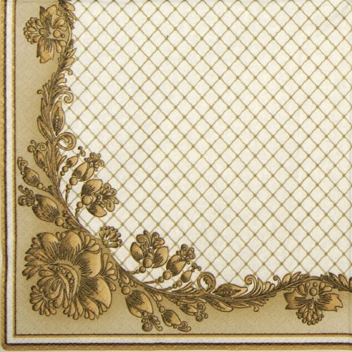 Paper Napkin - Gold Frame and Net on Crimson Beige
