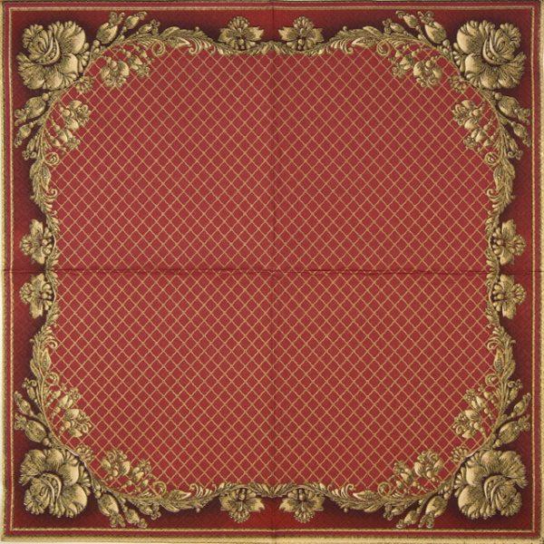 Paper Napkin - Gold Frame and Net on Crimson Beige