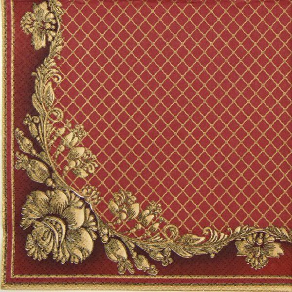 Paper Napkin - Gold Frame and Net on Crimson