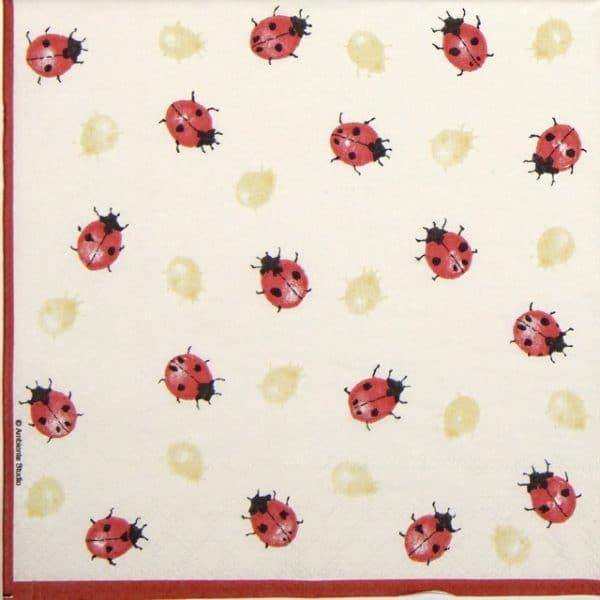 Lunch Napkins (20) - Ladybirds creme