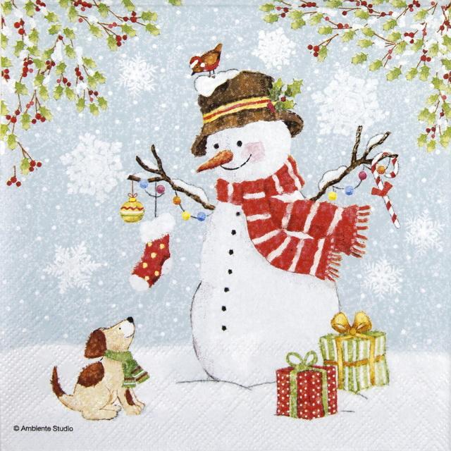 Lunch Napkins (20) - Snowman Meet Friends