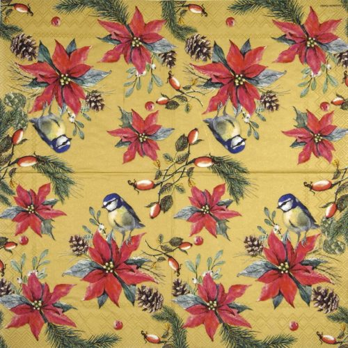 Paper Napkin -  Birds On Poinsettia gold