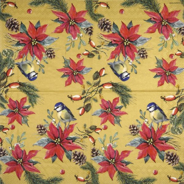Paper Napkin -  Birds On Poinsettia gold