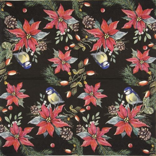 Lunch Napkins (20) - Birds On Poinsettia Black
