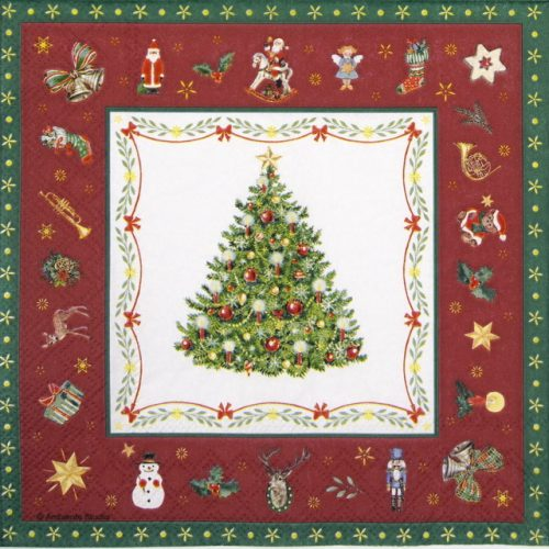 Cocktail Napkin - Christmas Evergreen Red