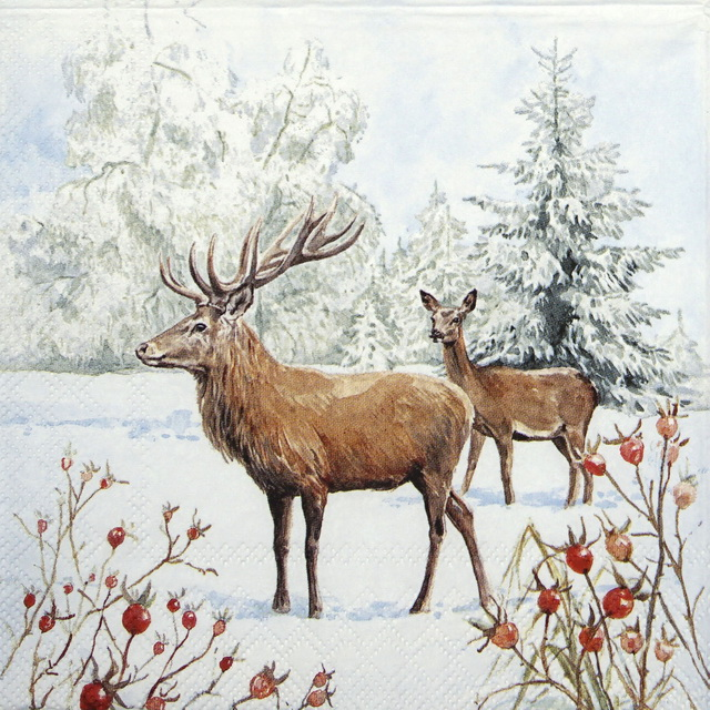 Cocktail Napkins (20) -Deer in Snow
