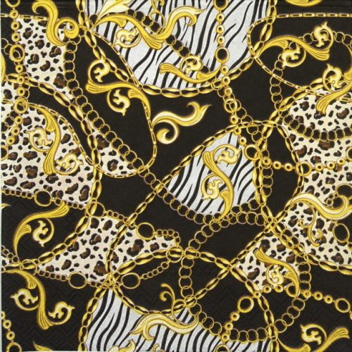 Lunch Napkins (20) -  Golden Pattern Black