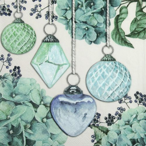 Paper Napkin - Hanging Baubles Green