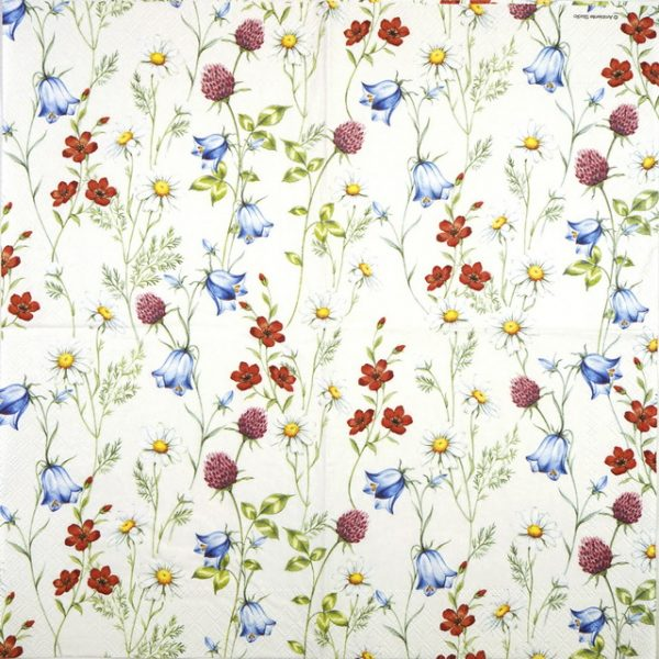 Lunch Napkins (20) - Mixed Wild Flowers White