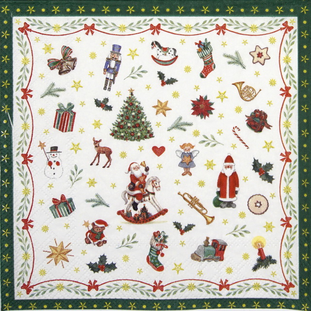 Lunch Napkins (20) - Ornaments All Over Green