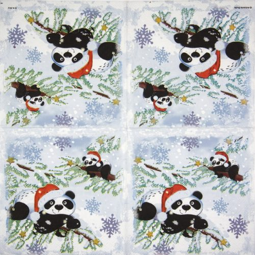 Paper Napkin - Pandas in Snow