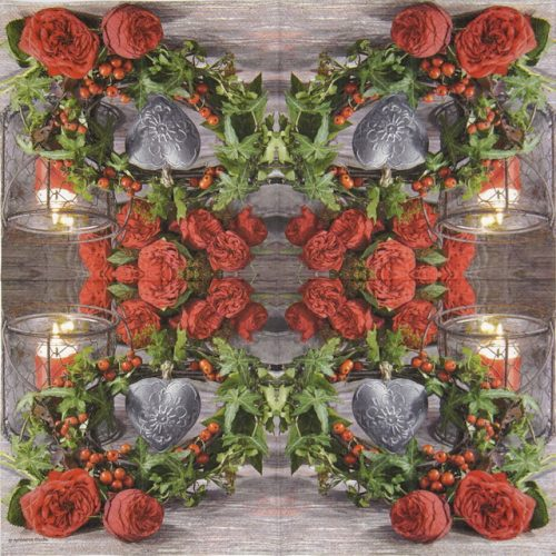 Cocktail Napkin - Roses and Ivy