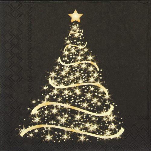 Paper Napkin - Shining Tree Black