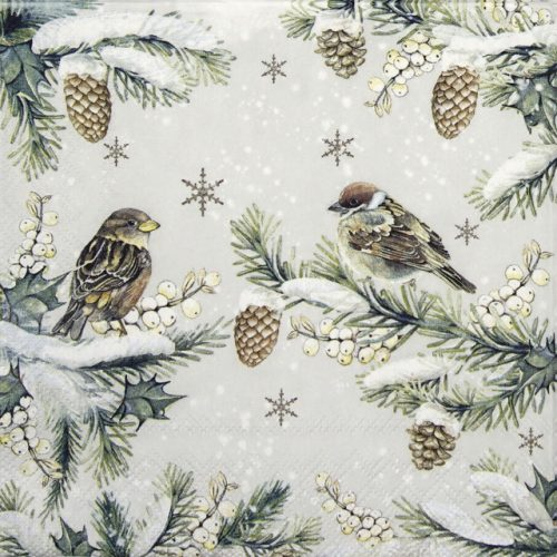 Cocktail Napkin - Sparrows in Snow