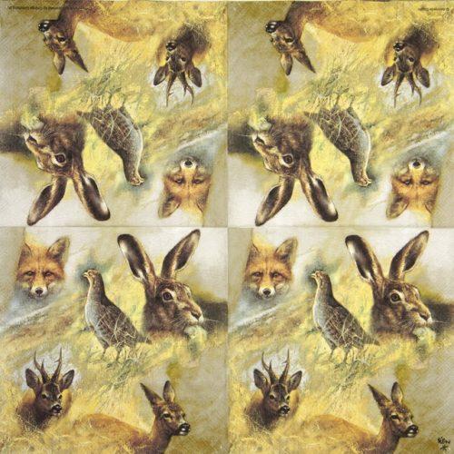 Lunch Napkins (20) - Wild Animals Collage