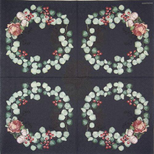 Paper Napkin -  Wreath of Eucalyptus Black