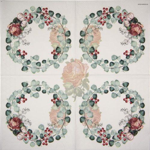 Paper Napkin -  Wreath of Eucalyptus Grey