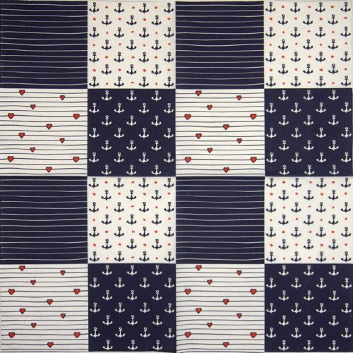 Lunch Napkins (20) - Marine Squares