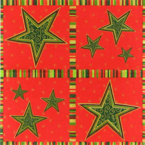 Cocktail Napkin - Etoile red green