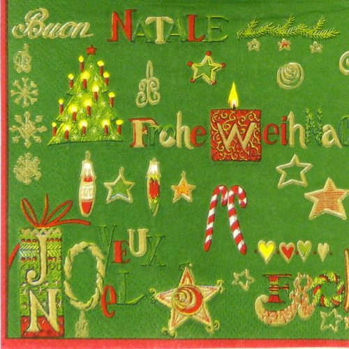 Cocktail Napkin - Buon Natale green