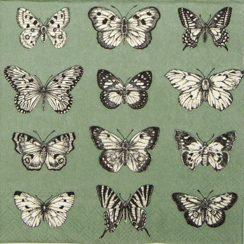Paper Napkin - Butterflies Green