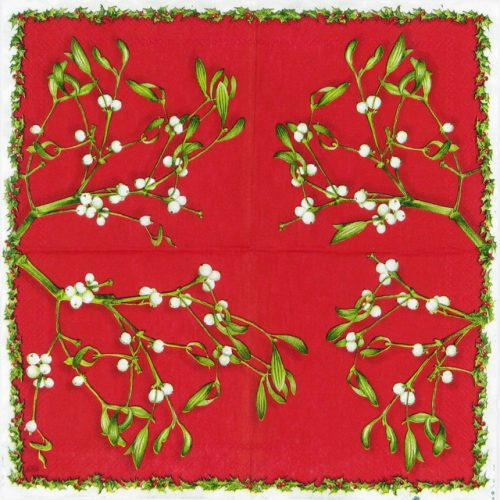 Cocktail Napkin - Mistletoe red