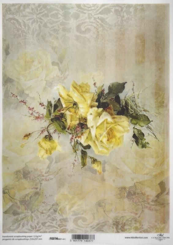 Translucent/Vellum Paper - Yellow flowers