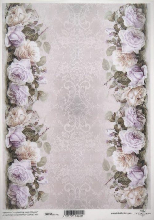Translucent/Vellum Paper - Purple Roses