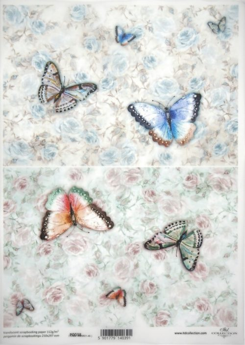 Translucent/Vellum Paper - Colourful Butterfly
