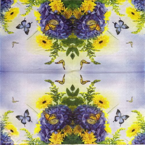 Paper Napkin - Blue & Yellow Garden